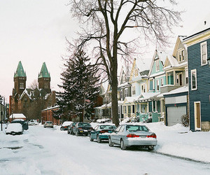 Houses, snow, and street image