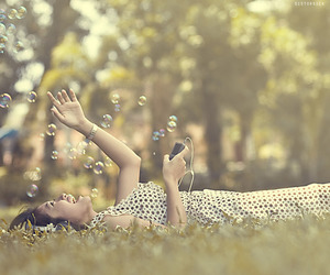 girl, music, and bubbles image