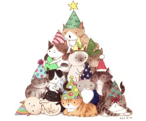 cat, christmas, and tree image