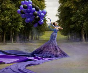 dress, purple, and balloons image