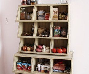 food, kitchen, and shelves image