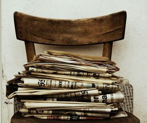 newspaper, chair, and old image