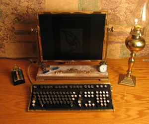 computer, steampunk, and gold image