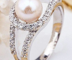 ring, wedding ring, and pearl ring image