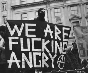 angry, anarchy, and black and white image