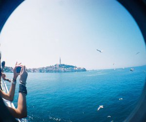 fisheye, summer, and blue image