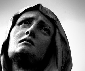 alone, black and white, and christian image