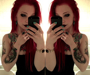tattoo, girl, and red hair image