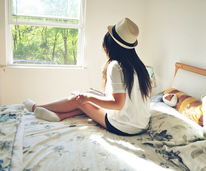 girl, hat, and bed image