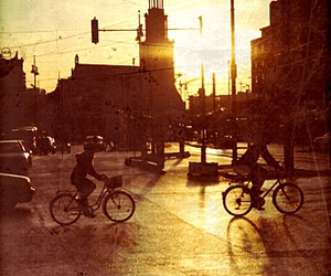 bicycles, city, and dawn image