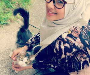 hijab, cat, and fashion image
