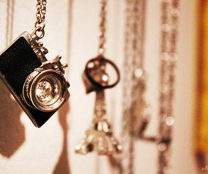 camera, necklace, and eiffel tower image