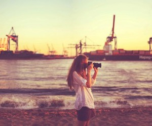 photography, girl, and beach image