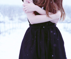 girl, cold, and snow image