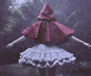 red, dress, and forest image