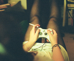 girl, cigarette, and game image