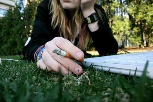 cigarette, computer, and grass image