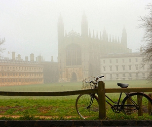 bicycle, chapel, and fog image