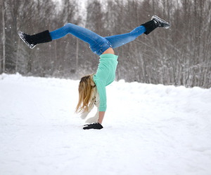 blonde, girl, and snow image