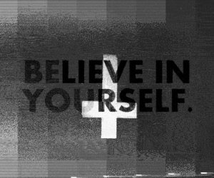 believe, black and white, and cross image