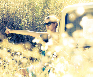 car, girl, and sunglasses image