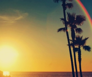 beach, sea, and rainbow image