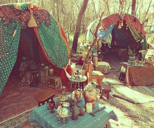 hippie and tent image