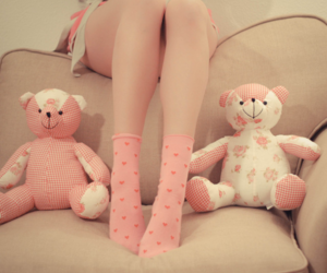 pink, floral, and legs image