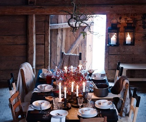 table, candle, and dinner image