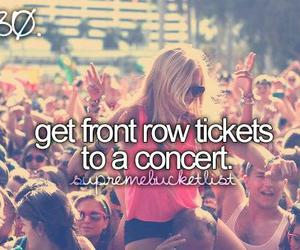 concert, ticket, and bucket list image