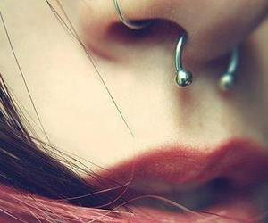 piercing, septum, and lips image