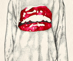 lips, red, and shirt image