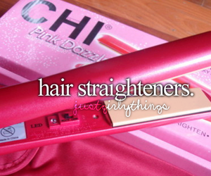 hair, pink, and straightener image