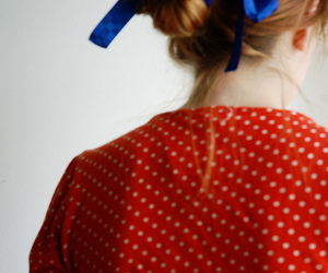 girl, blue, and bow image