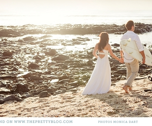 beach, bride, and married image