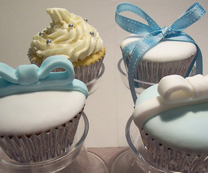 blue, bows, and cupcakes image