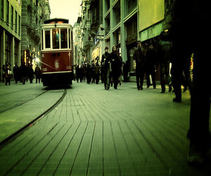 bus, street, and passersby image