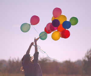 balloons, girl, and colors image