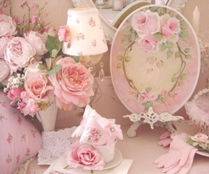 pink, girly, and flowers image