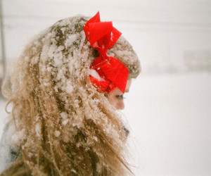 snow, girl, and bow image