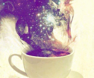 galaxy, coffee, and cup image