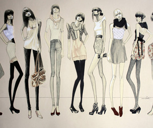 fashion, drawing, and model image