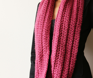 chunky, pink, and scarf image
