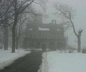 house, snow, and fog image