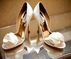 bride, flower, and shoes image