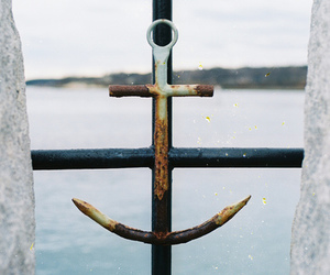 anchor, sea, and vintage image