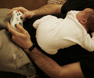 baby, dad, and game image