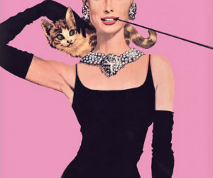 audrey hepburn, cat, and pink image