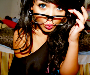 brunette, glasses, and contact lenses image