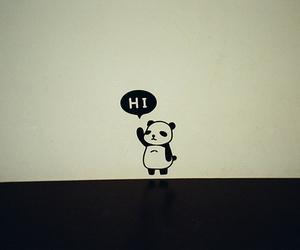 panda, hi, and black and white image